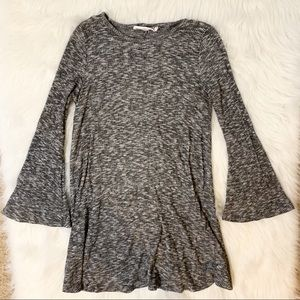 Audrey 3+1 Bell Ribbed Bell Sleeve Tunic Top